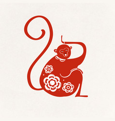 Monkey red chinese cute zodiac sign animal vector