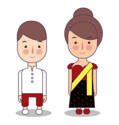 Myanmar burma wedding couple cute indonesian vector