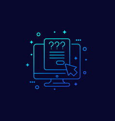 Online survey or questionnaire linear icon vector