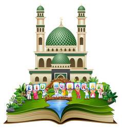 open book with happy islamic kids holding letters vector image