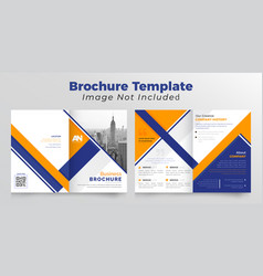 Orange and dark blue business bifold brochure vector