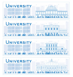 outline set of university study banners vector image