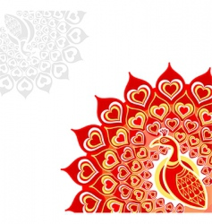 Peacock love card vector