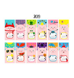 Pig vertical monthly calendar 2019 cute funny vector