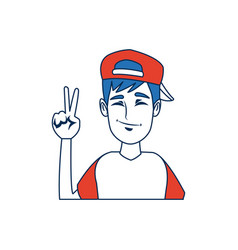 portrait funny guy cartoon young people profile vector image