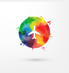 Rainbow grungy watercolor air plane icon vector
