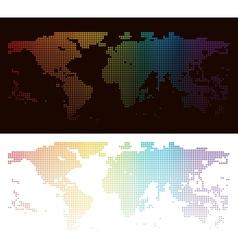 Rainbow halftone world map vector image