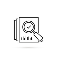 Review icon like thin line loupe on paper vector