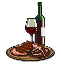 Ribs and wine vector
