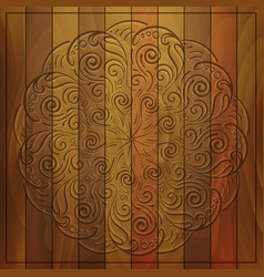 round pattern on wooden background vector image