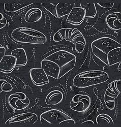 Seamless patterns with different breads over vector
