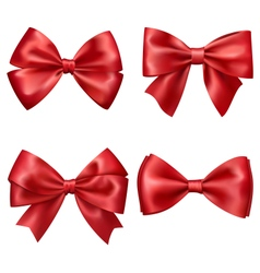Set Collection of Festive Red Satin Bows Isolated vector