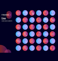set flat line icons finance vector image
