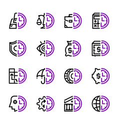 set icons banks and money time vector image