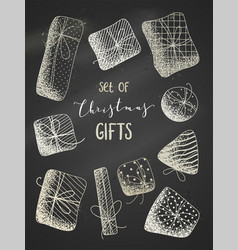 Set of chalk gifts on blackboard background vector