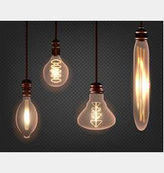 Set vintage spiral edison light bulb realistic vector