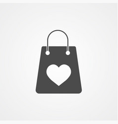 shopping bag with heart icon sign symbol vector image