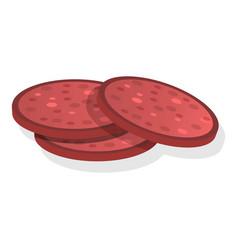 Sliced sausage icon cartoon style vector
