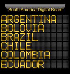South america country digital board information vector