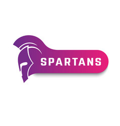 Spartans logo with warrior helmet on white vector