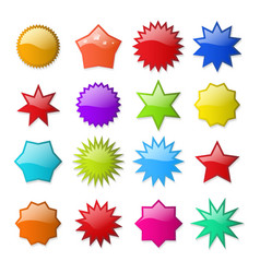 Starburst shape stickers vector