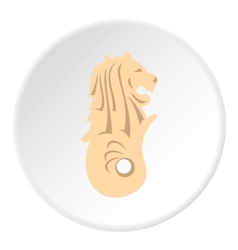 Statue of lion fish Merlion icon flat style vector