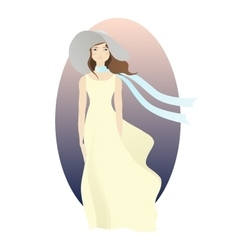 Stylish woman with fashion hat and scarf vector