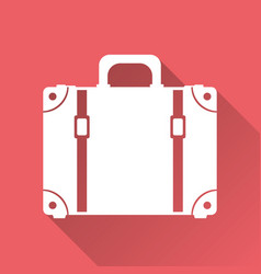 suitcase flat on red background with long shadow vector image