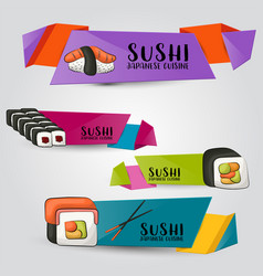 Sushi bar and asian restaurant horizontal banner vector