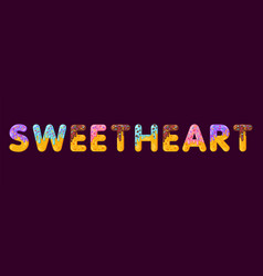 Sweetheart biscuit lettering glazed gingerbread vector