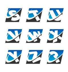 Swoosh Sport Alphabet Logo Icons Set 3 vector