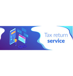 Tax return service isometric 3d banner header vector