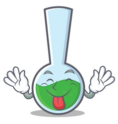 Tongue out tube laboratory character cartoon vector