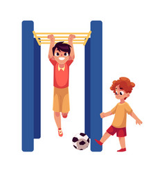 Two boys playing football and hanging on monkey vector