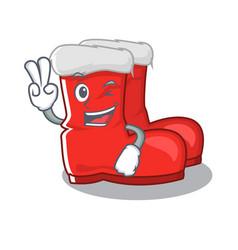 Two finger santa boots on cartoon shoe rack vector