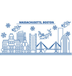 Usa massachusetts boston winter city skyline vector