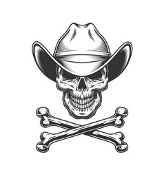 Vintage monochrome cowboy skull and crossbones vector