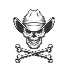 vintage monochrome cowboy skull and crossbones vector image