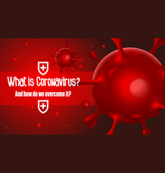 Viral bacteria on a red background vector