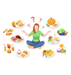 Woman choosing healthy and junk food vector