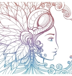 Zentangle woman face colorful tatoo tempate vector