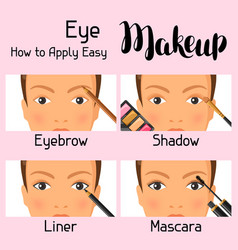 eye makeup how to apply easy information banner vector image