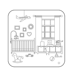 Line interior of baby room vector