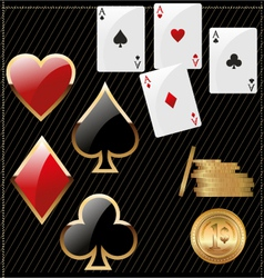 Set of shiny card suit icons and golden poker vector image