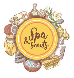 spa wellness beauty hand drawn doodle vector image