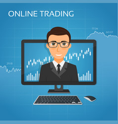 trading online concept with businessman on the vector image