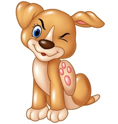 Cartoon baby dog scratching an itch isolated vector image vector image