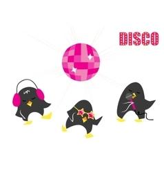 Funny cartoon Disco penguins vector image
