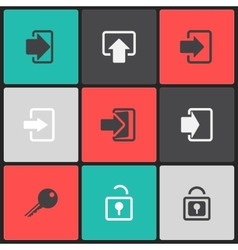 login web icon set on a color square vector image