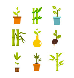 plant icon set flat style vector image